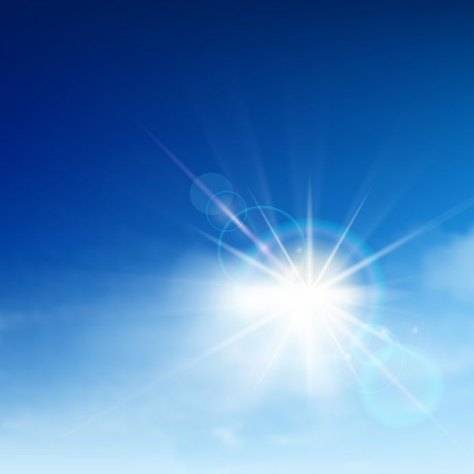 12495984 - bright blue sky with easy clouds and solar patch of light